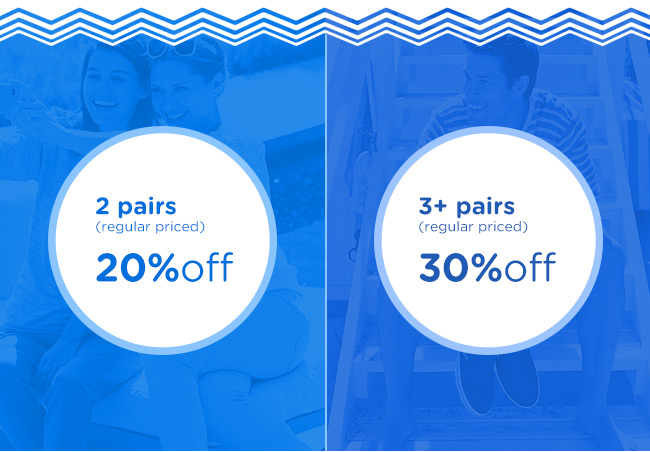 Save 20% off when you buy 2 pairs, save 30% off when you buy 3 pairs or more at Crocs Australia.