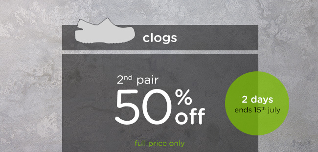 Get 2nd pair- save 50% off on full price clogs for 2 days only at Crocs Australia.