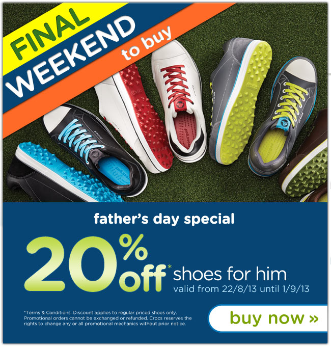Save 20% OFF Father's Day Special Shoes for Him at  Crocs.co.uk